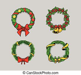 Comical Drawing Christmas Wreath - Comical vector...