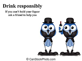 Comical Drink responsibly message on white background with copy space for own text