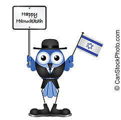Happy Hanukkah - Comical Happy Hanukkah message isolated on...
