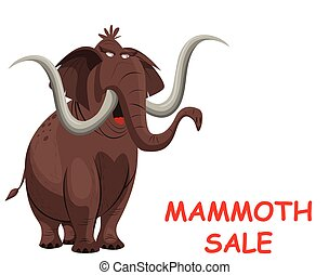 Comical Mammoth sale with copy space for own text or graphics isolated on white background