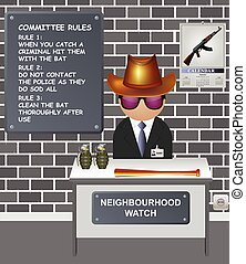 Comical neighbourhood watch committee with forceful ways of ...