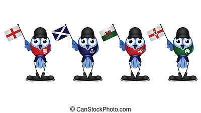 United Kingdom - Comical patriotic birds of the United...