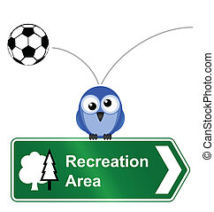 Comical recreational area sign isolated on white background