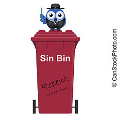 Comical Red Sin Bin and Vicar isolated on white background
