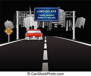 Comical roadworks ahead with long delays signs with vehicle ...