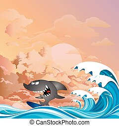 Comical shark surfer at dawn - Comical shark surfer riding ...