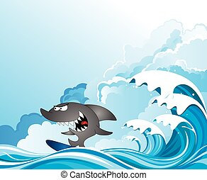 Comical shark surfer riding the waves set against a cloudy ...