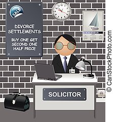 Comical Solicitors office with sale offer on divorce ...