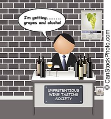 Comical unpretentious wine tasting society with honest basic...