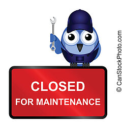Comical website closed for maintenance sign isolated on white background