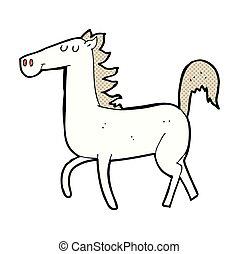 comico, cavallo, cartone animato