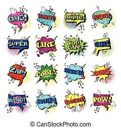 comico, discorso, chiacchierata, bolla, set, arte popolare,...