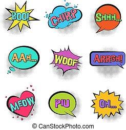 comico, discorso, retro, animale, bolle, suoni
