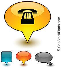 comico, discorso, telefono, icons.