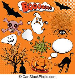 comico, elementi, halloween