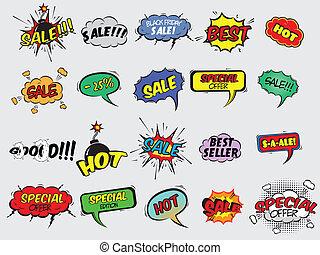 comico, esplosione, vendita, icone