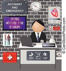 comico, incidente, emergenza