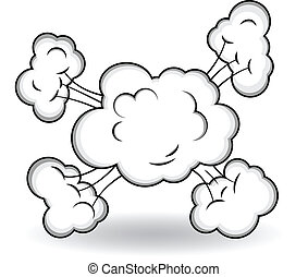 comico, nubi, esplosione, vettore