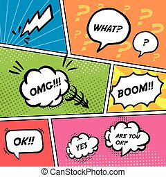 comico, set, discorso, bolle, colorito