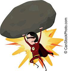 comico, super, ragazza, lancio, grande, roccia