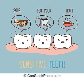 comics, über, empfindlich, teeth.
