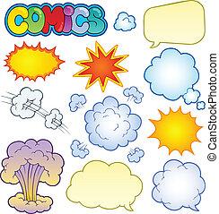 comics, 1, elemente, sammlung