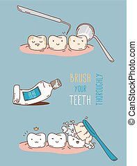 Comics about dental diagnostics and treatment. Vector...