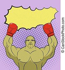 comics., arte, monstro, campeão, vencedor, grande, text., vazio, ilustração, pugilista, vetorial, verde, estouro, mma, duende, bolha, boxing., galáxia, retro