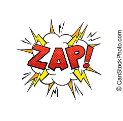 Comics balloon Zap text. Cartoon speech bubble, red yellow and orange colors. Sound speech effect halftone dot background. Vector illustration in vintage style