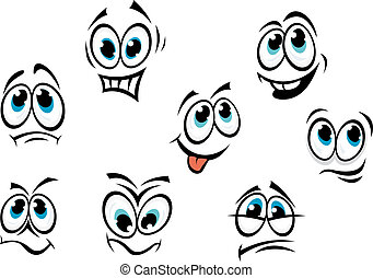 Comics cartoon faces set with different expressions