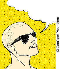 Comics Character with Bubble speech. vector vintage...