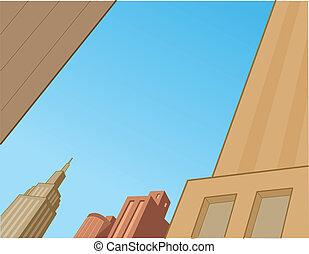Comics City Skyline Scene