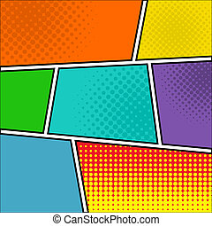 Comics pop art style blank layout template with dots pattern...