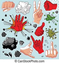 Comics hands collection - icon set