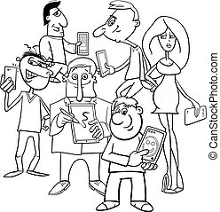 comics people group with electronic devices - Black and...