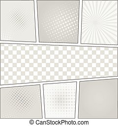 Comics pop art style blank layout template with dots pattern background