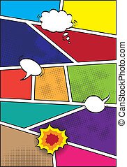 Comics popart style blank layout template background vector ...