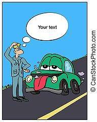 comics., road., automático, partes, ilustração, 1, quebrada, vetorial, carro., anúncio, car, store., parte, homem
