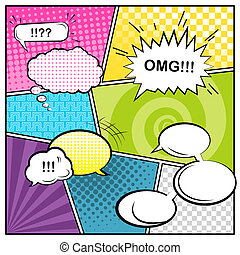 Comics - Vector template a typical comic book page with...