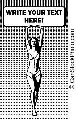 Comics woman - Black and white vector illustration of comics...