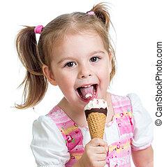 comida, aislado, hielo, estudio, niño, niña, alegre, crema