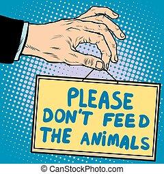 comida, animales, dont, por favor, señal de mano