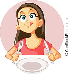 comida, ansia, restaurante, foodie, niña, divertido, bueno