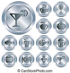 comida bebidas, botões