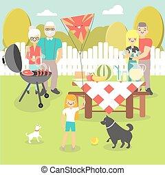 comida campestre de la familia, vector, ilustración, en, plano, estilo