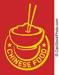 comida chinês, etiqueta