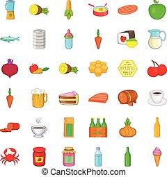 comida, conjunto, estilo, caricatura, iconos