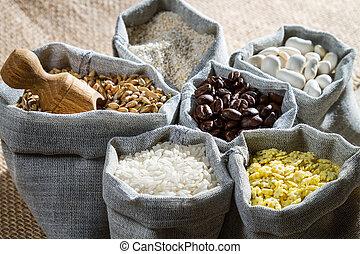 comida cozinhando, ingredientes, em, pano, sacolas