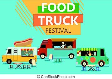 comida de calle, camión, fiesta, cartel