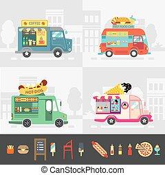 comida de calle, conjunto, vector, camión, design.